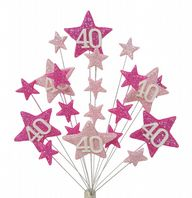 Star age 40th birthday cake topper decoration in shades of pink - free postage